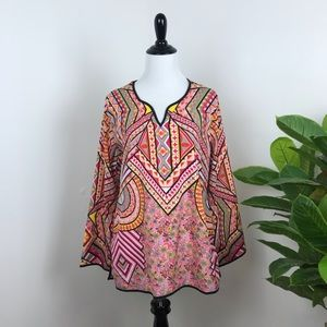 Feathers by tolani bohemian floral print blouse